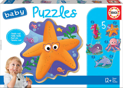 5 Baby Jigsaw Puzzles Sea Animals By EDUCA