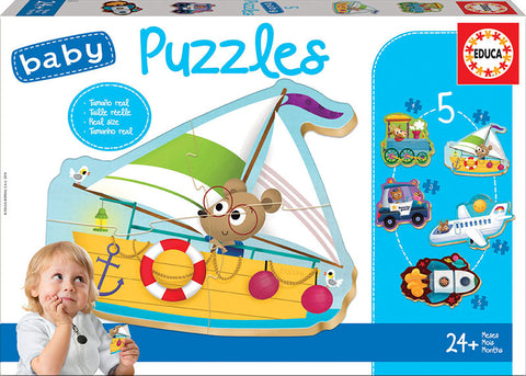 5 Baby Puzzles Vehicles By EDUCA