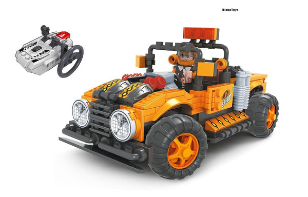 RADIO CONTROLLED BUILDING BLOCKS OFF-ROAD TRUCK ORANGE BY BRICTEK - Bloxx Toys - Toronto Online Toys Store - 2