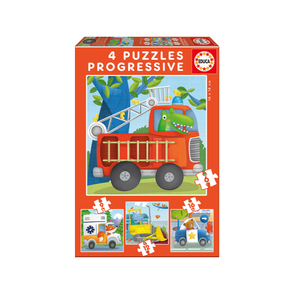 4 Progressive Puzzles Vehicles By Educa - BloxxToys Canada