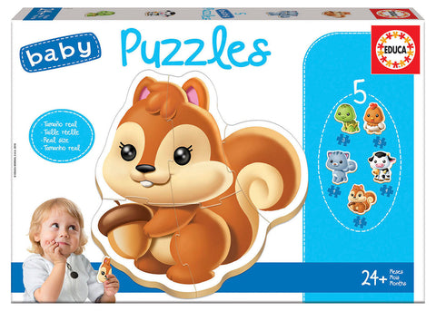 5 Baby Puzzles - Animals By EDUCA - Educational Puzzle
