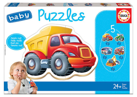 5 Baby Puzzles - Vehicles Refresh By EDUCA - BloxxToys