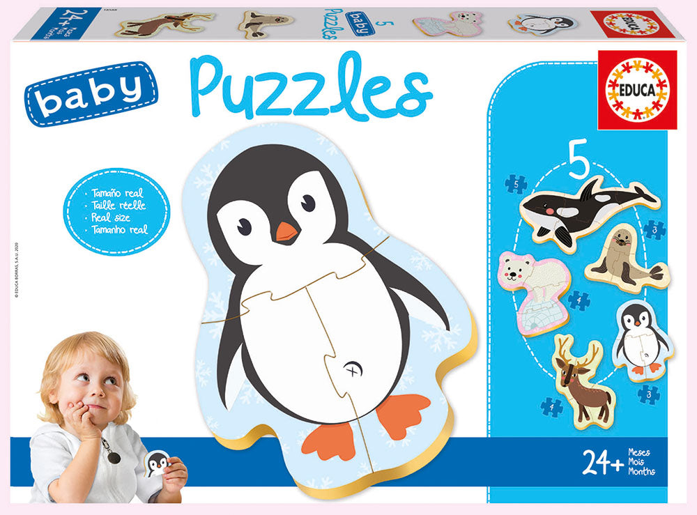 5 Baby Puzzles Polar Animals By Educa  Educational Baby Puzzles