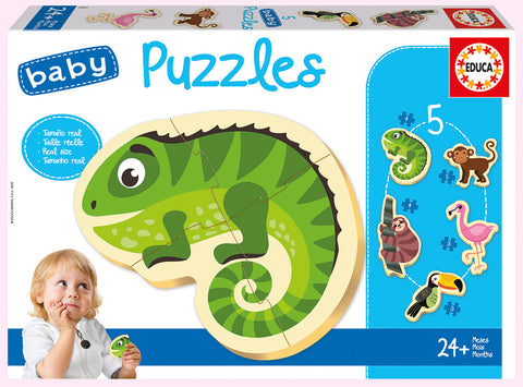 5 Baby Puzzles Tropical Animals By Educa  Educational Baby Puzzles