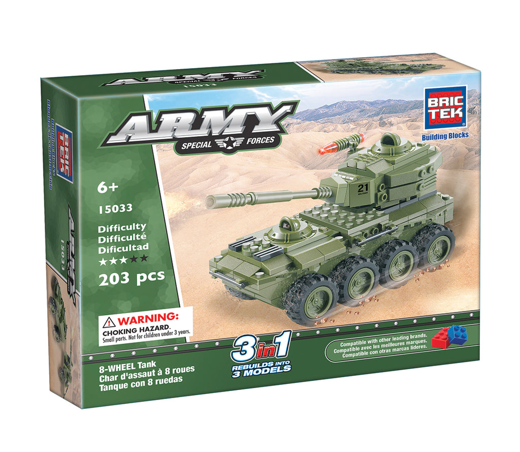 8-Wheel Tank 3 in 1 by Brictek® - Bloxx Toys - Toronto, Montreal, Vancouver, Kids, Building Toys, Shopping online, Ontario, Quebec, - Educational Online Toys Store Canada