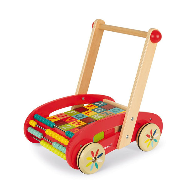 ABC Buggy Cart 30 Blocks (Wood) By Janod - BloxxToys