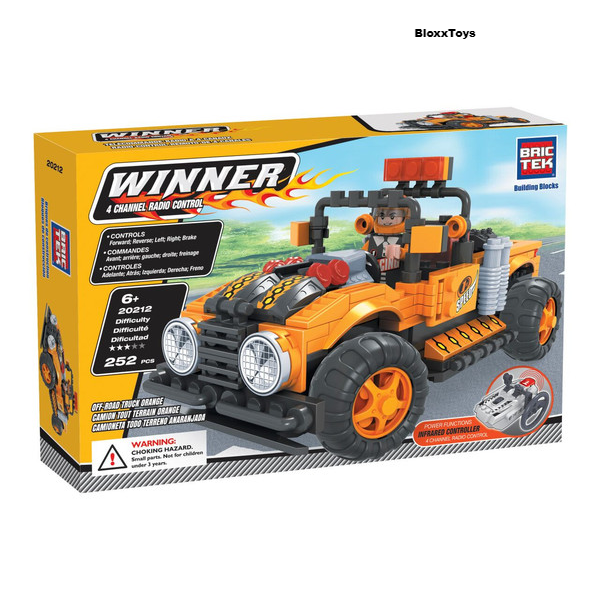 RADIO CONTROLLED BUILDING BLOCKS OFF-ROAD TRUCK ORANGE BY BRICTEK - Bloxx Toys - Toronto Online Toys Store - 1