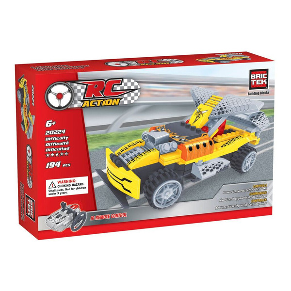 BRICTEK R/ C BUILDING BLOCKS YELLOW RACING CAR - Bloxx Toys - Toronto Online Toys Store - 1