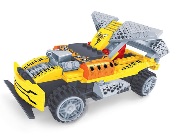 BRICTEK R/ C BUILDING BLOCKS YELLOW RACING CAR - Bloxx Toys - Toronto Online Toys Store - 2