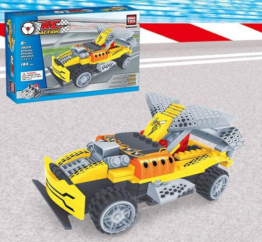 BRICTEK R/ C BUILDING BLOCKS YELLOW RACING CAR - Bloxx Toys - Toronto Online Toys Store - 3