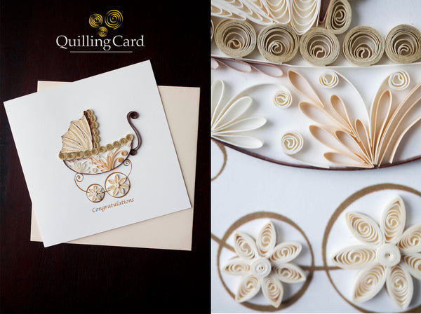 Baby Carriage Greeting Card By Quilling Card- Bloxx Toys - Toronto - Educational Online Toys Store Canada