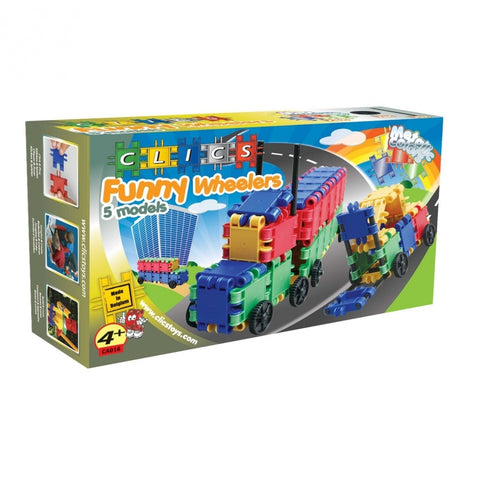 Funny Wheelers Building Blocks Set By Clics - Bloxx Toys - Toronto Online Toys Store - 1