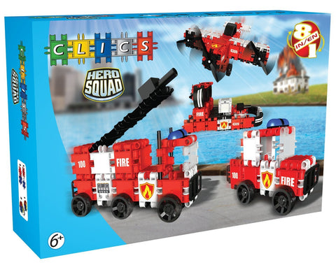 Squad Hero Fire Brigade 8 in 1 Building Blocks Set By Clics - Bloxx Toys - Toronto Online Toys Store - 1