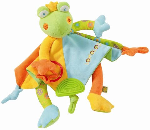 Comforter Cuddly toy Frog blanket with rattle and teether By Fehn