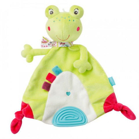 Comforter Sweetheart Cuddle friend Frog blanket with teether By Fehn