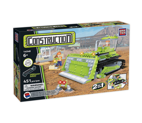 Construction 2 In 1 Bulldozer by BricTek   Bloxx Toys kid friendly and educational toy 14048