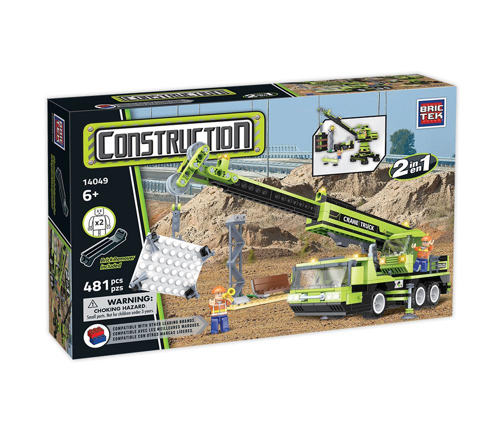 Construction 2 In 1 Crane Truck by BricTek   Bloxx Toys kid friendly and educational toy 14049