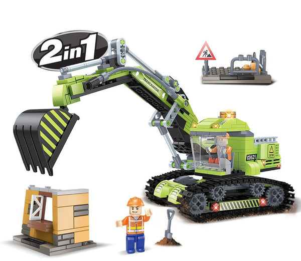 Construction 2 In 1 Excavator by BricTek   Bloxx Toys kid friendly and educational toy 14050
