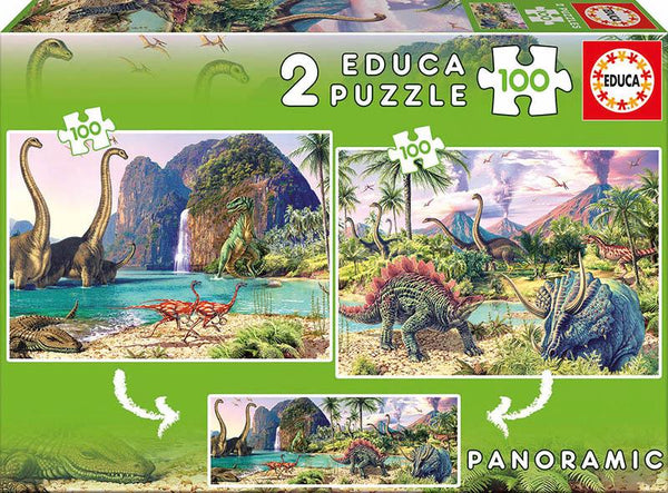 Dinosaurs World- 2x100 pieces Puzzle By EDUCA - BloxxToys