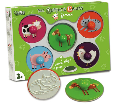 Doudou mega large stamps - Farm animals  Mes Tampons Geants-Ferme By Doudou   Bloxx Toys kid friendly and educational toy