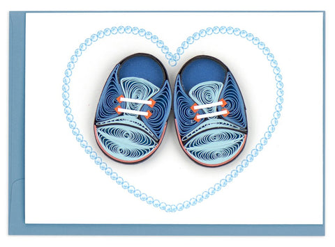 Blue Baby Booties Gift Enclosure By Quilling Card