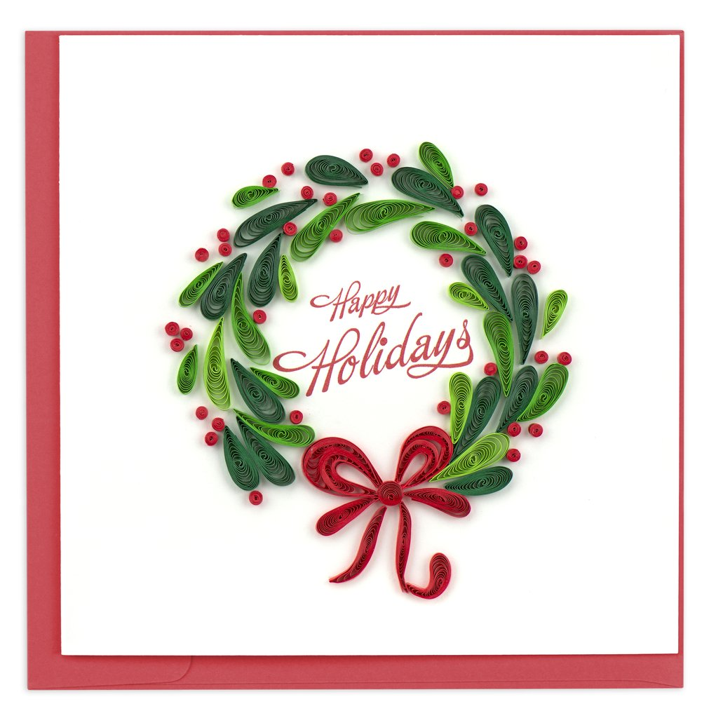 Holiday Christmas Wreath Greeting Card By Quilling Card