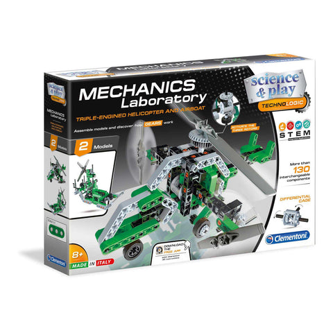 Helicopter and Airboat Mechanics Laboratory By Clementoni -Bloxx Toys-Toronto toys, toy,Autism Toys, Ontario toys, Quebec toys, Children Toys,Kids Toys,Educational toys, Online Toys Store Canada