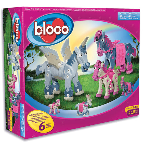 Horses & Unicorns Foam Building Blocks By Bloco - Bloxx Toys - Toronto Online Toys Store - 1