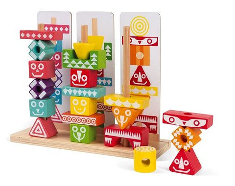 Iwood Edutotem Stackable Pieces By Janod - BloxxToys