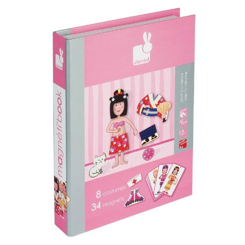 Janod Girl's Outfits Magnetic Book -  box/34 pcs - Bloxx Toys - Toronto Online Toys Store - 1