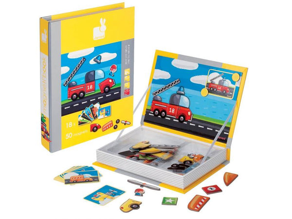Cars and Vehicles Magnetic Book By Janod - Bloxx Toys - Toronto Online Toys Store - 2