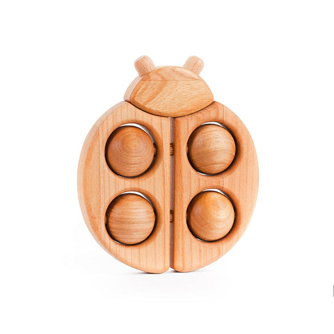 LadyBug  Roller Rattle - Wooden By Bajo Bloxx Toys