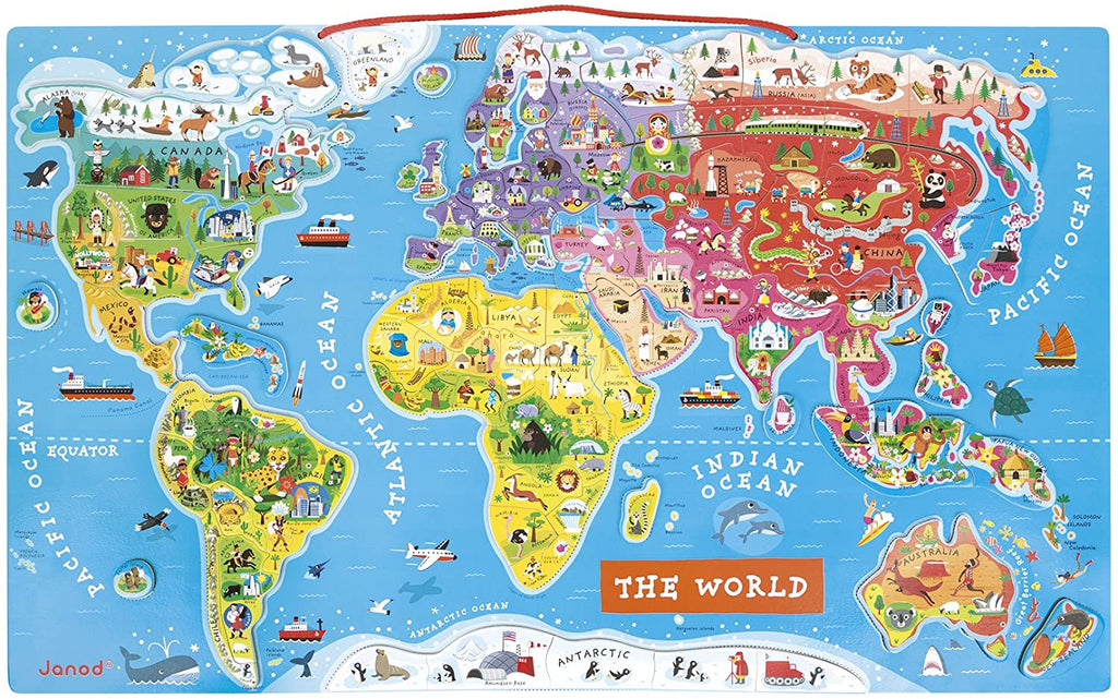 Magnetic World Puzzle Map - English By Janod -Bloxx Toys-Toronto toys, toy, Canada, Autism Toys, Ontario toys, Quebec toys, Children Toys,Kids Toys,Educational toys, Online Toys Store Canada