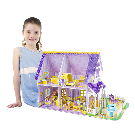 Pretty Purple Dollhouse 3D Puzzle & Dollhouse In One By Melissa & Doug - Bloxx Toys - Toronto Online Toys Store - 4