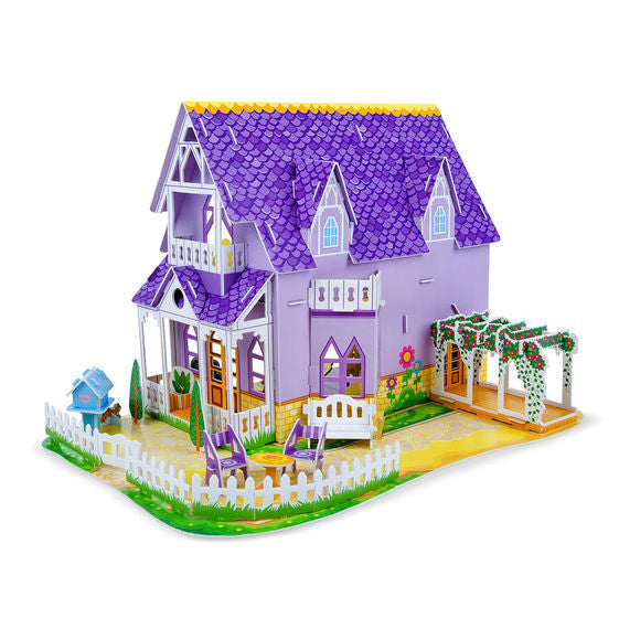 Pretty Purple Dollhouse 3D Puzzle & Dollhouse In One By Melissa & Doug - Bloxx Toys - Toronto Online Toys Store - 3