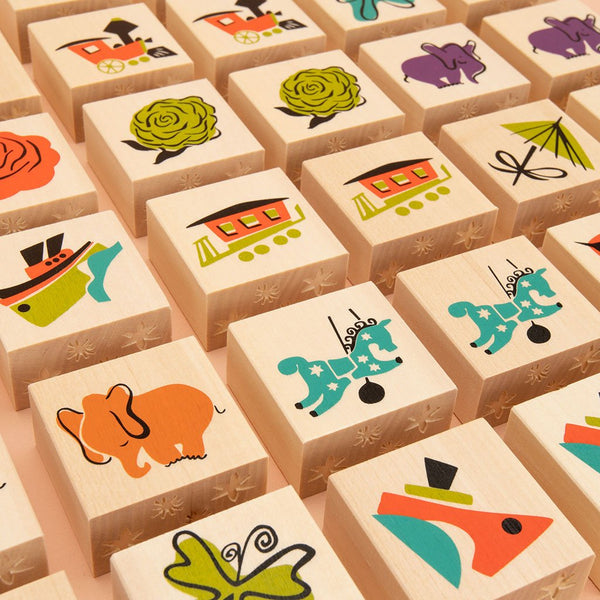Memory Game Mary Blair wooden Blocks By Uncle Goose