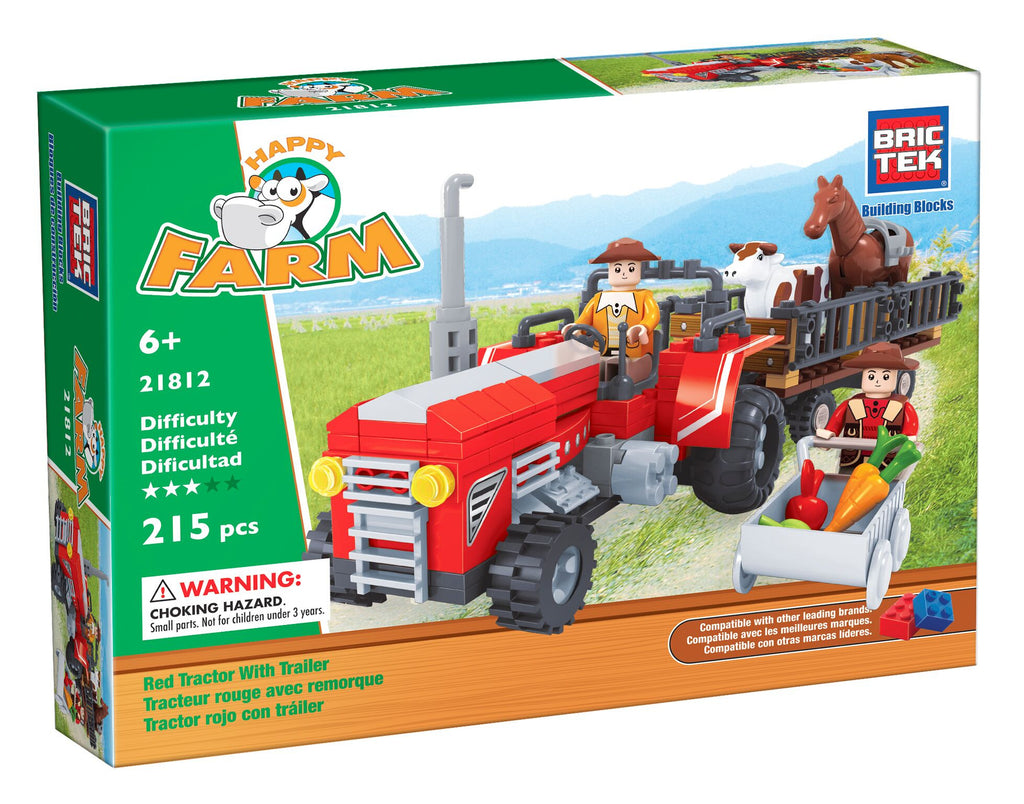 Red Tractor With Trailer By BricTek - Bloxx Toys - Toronto Online Toys Store - 1