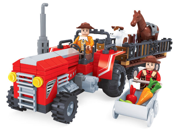 Red Tractor With Trailer By BricTek - Bloxx Toys - Toronto Online Toys Store - 2