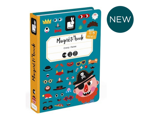 NEW! Crazy Face Boy Magnetic Book -  box/67 pcs By Janod