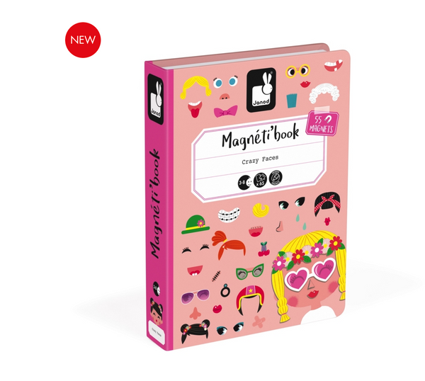 Crazy Face Girl Magnetic Book -  box/65 pcs By Janod