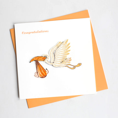 Stork Delivery Greeting Card By Quilling Card- Bloxx Toys - Toronto - Educational Online Toys Store Canada