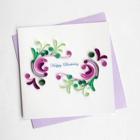 Swirl Happy Birthday Greeting Card By Quilling Card - Bloxx Toys - Toronto - Educational Online Toys Store Canada