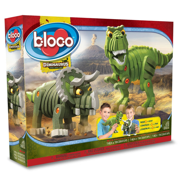 T-Rex & Triceratops Foam Blocks By Bloco - Bloxx Toys - Toronto Online Toys Store - 1