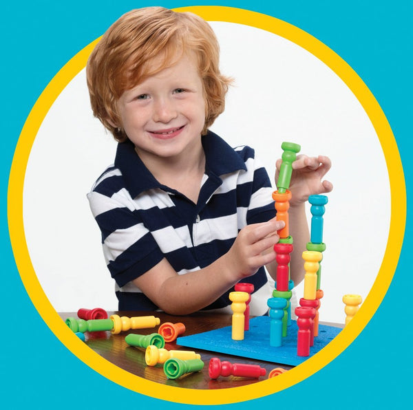 Tall-Stacker Pegs & Pegboard Set By Lauri - Bloxx Toys - Toronto - Educational Online Toys Store Canada