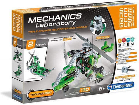 Triple-Engined Helicopter and Airboat Mechanics Laboratory By Clementoni -Bloxx Toys-Toronto toys, toy,Autism Toys, Ontario toys, Quebec toys, Children Toys,Kids Toys,Educational toys, Online Toys Store Canada