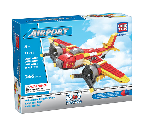 Twin-Engine Propeller Plane by BricTek - Bloxx Toys - Toronto, Montreal, Vancouver, Kids, Building Toys, Shopping online, Ontario, Quebec, - Educational Online Toys Store Canada