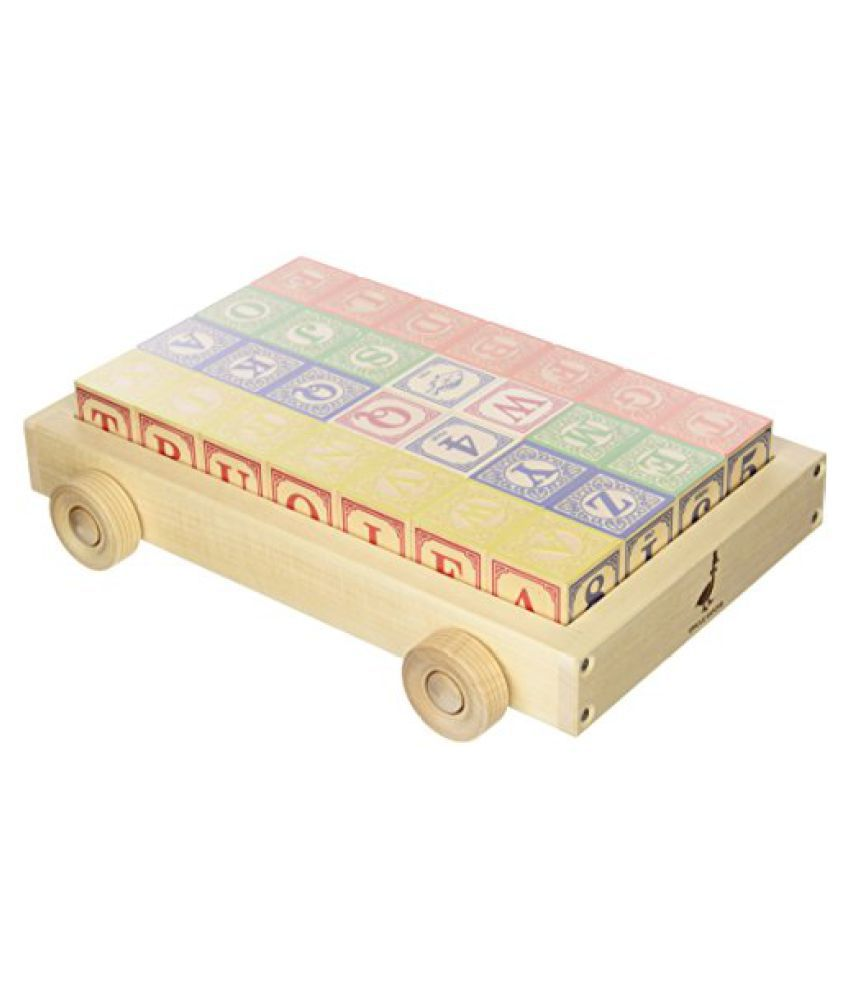 Uncle Goose Classic ABC Blocks in a Wooden Wagon