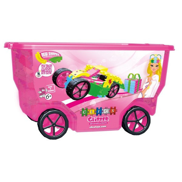 Roller Box-Glitter 10 in 1 Building Blocks Set By Clics - Bloxx Toys - Toronto Online Toys Store - 1