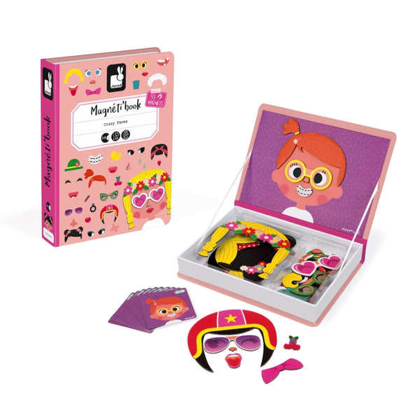 New! Crazy Face Girl Magnetic Book -  box/65 pcs By Janod