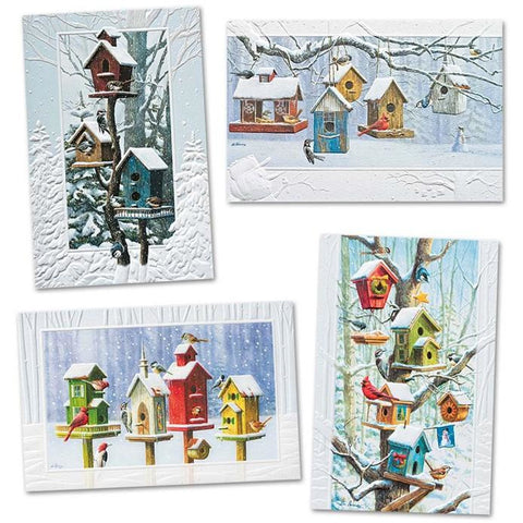 Pumpernickel Press Christmas Cards Assorted Bright Birdhouses